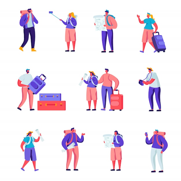 Set of flat tourists traveling around the world characters Premium Vector
