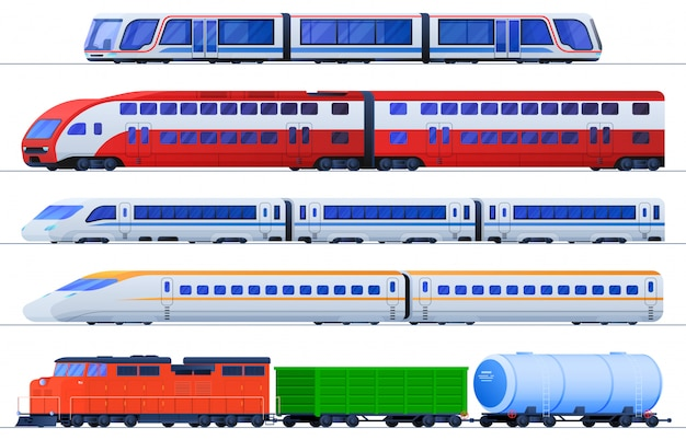 Set of flat trains Premium Vector