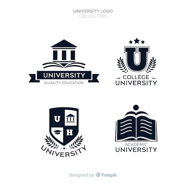 Set of flat university logos Free Vector