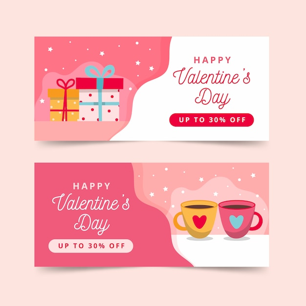 Set of flat valentine's day banners Free Vector