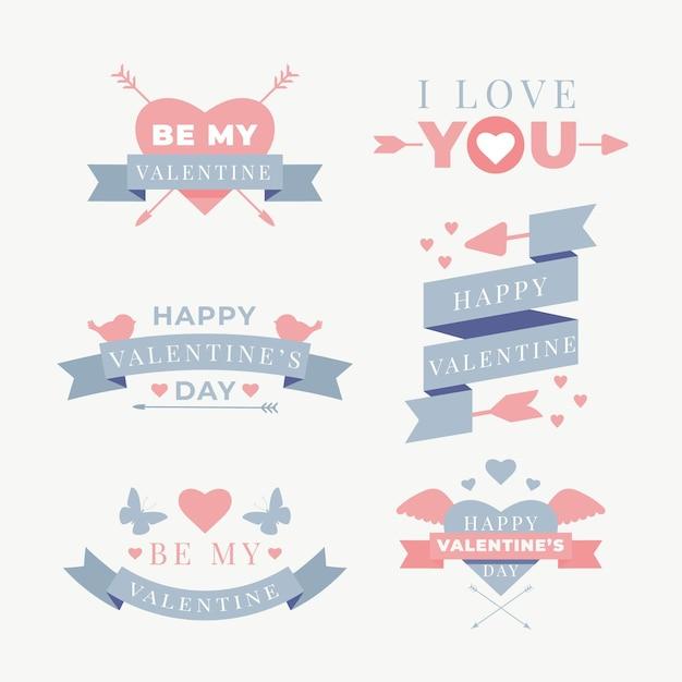 Set di etichette piatte di san valentino Vettore gratuito