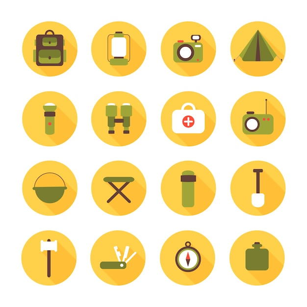 Set of flat vector camping equipment symbols and icons Premium Vector