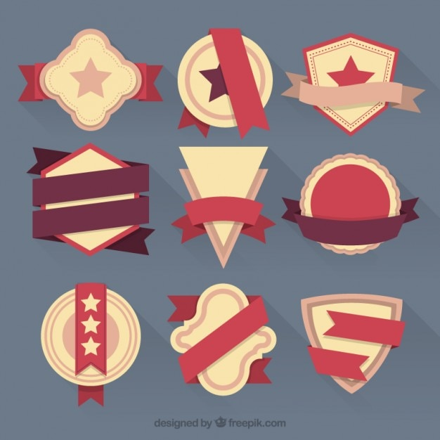 Set of flat vintage badges and ribbons Free Vector
