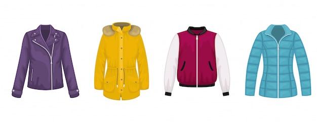 Set of flat  women's outerwear. leather jacket, bomber jacket, parka, jacket. Premium Vector