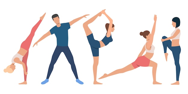 Set of flexible people in various positions Free Vector