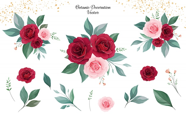 Set of floral arrangements of peach and burgundy rose flowers and leaves. Premium Vector