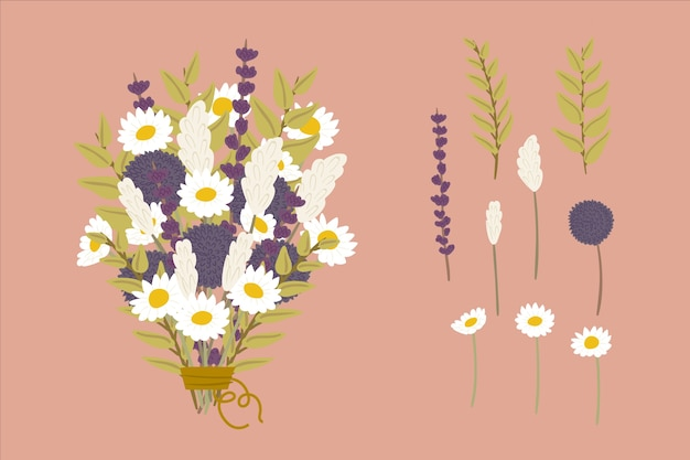 Set of floral bouquets in 2d Free Vector