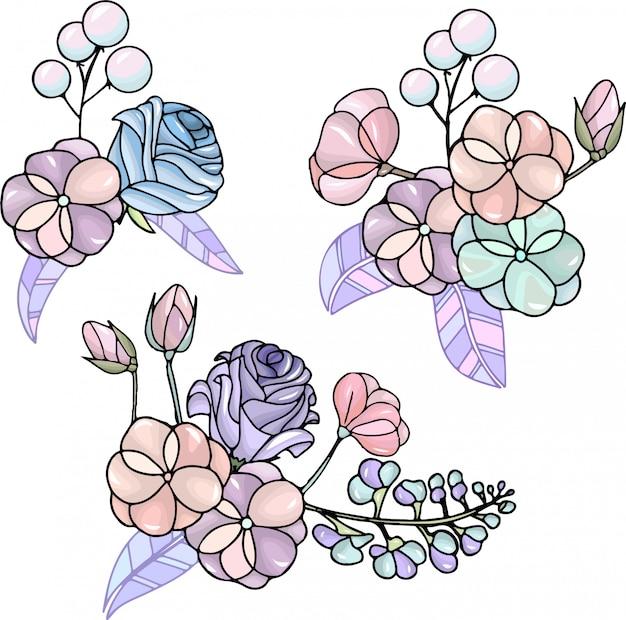 Set of floral bouquets Premium Vector