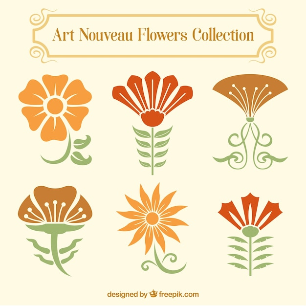 art nouveau decor.htm set of floral decoration in art nouveau style free vector  floral decoration in art nouveau style