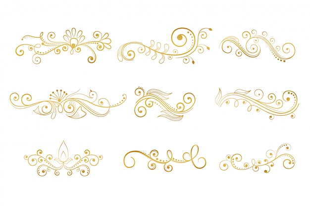 Set of floral decorative elements in gold color Free Vector