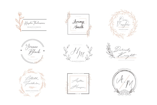 Set of floral elegant logos Free Vector