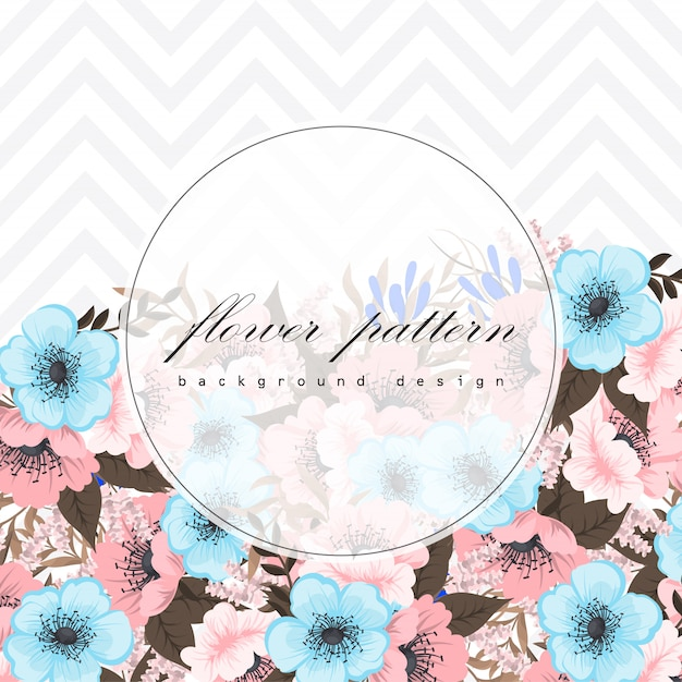 Set of floral frame with colorful flower. Free Vector