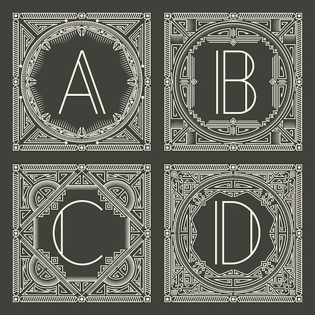 Set of floral and geometric monogram logos with capital letter on dark gray background. Free Vector