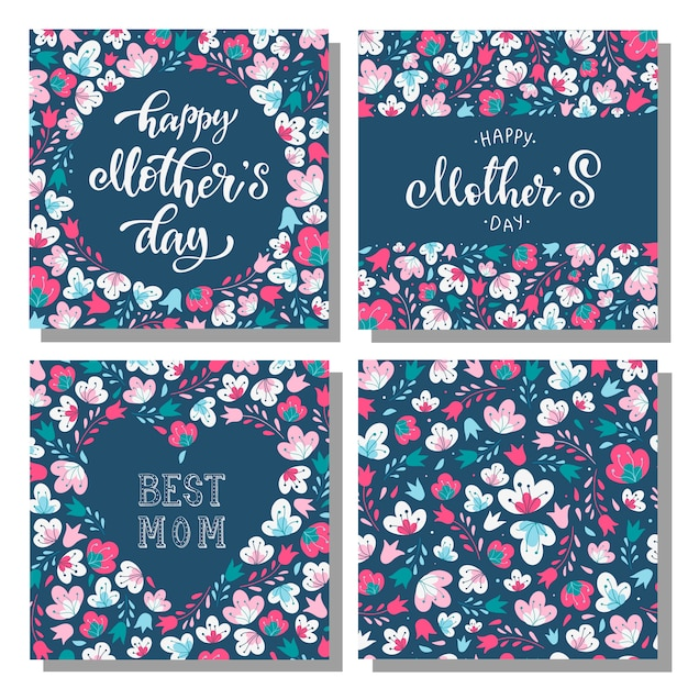 Set of floral mother's day cards Premium Vector