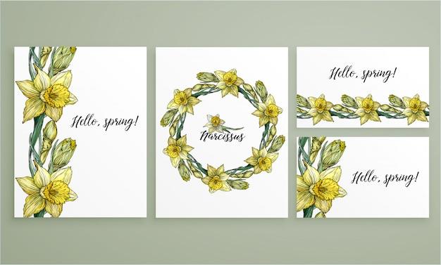 Set floral romantic templates Premium Vector