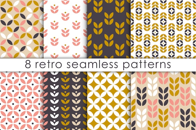 Set of floral seamless pattern in scandinavian style. Premium Vector