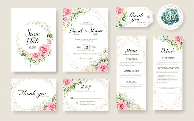 Set of floral wedding invitation card template. rose flower, greenery plants. Premium Vector