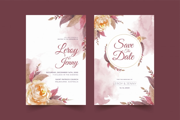 Set of floral wedding invitation card template with rose flower and leaves premium vector Premium Vector