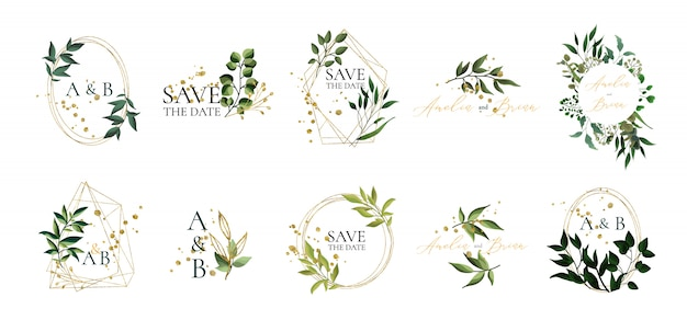 Set of floral wedding logos and monogram with elegant green leaves golden geometric triangular frame for invitation save the date card design. botanical vector illustration Free Vector