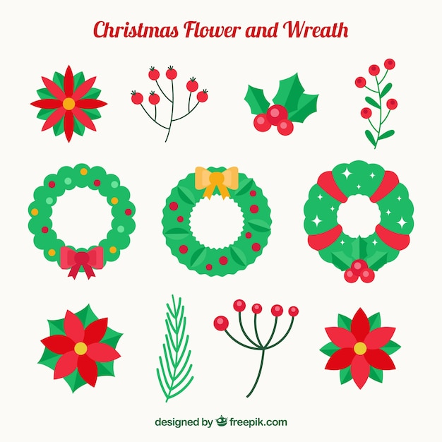 Set of floral wreaths and natural christmas elements Free Vector