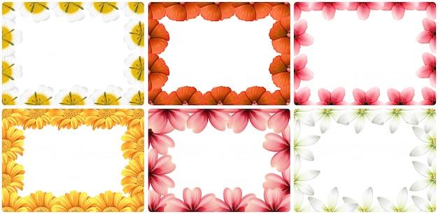 Set of flower border Free Vector
