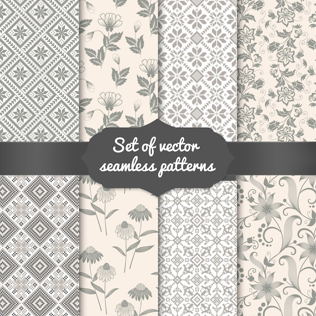 Set of flower seamless pattern backgrounds. elegant textures for backgrounds, wallpapers etc. Free Vector