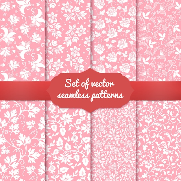 Set of flower seamless pattern backgrounds. Free Vector
