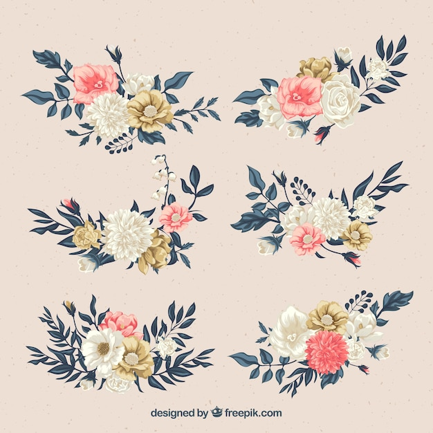 Set of flowers in flat style Free Vector