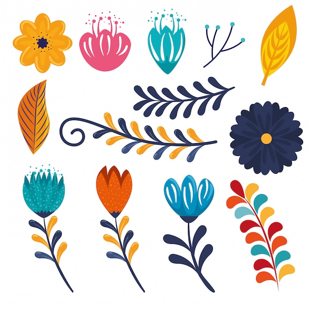 Set flowers plants with branches leaves decoration to event Free Vector