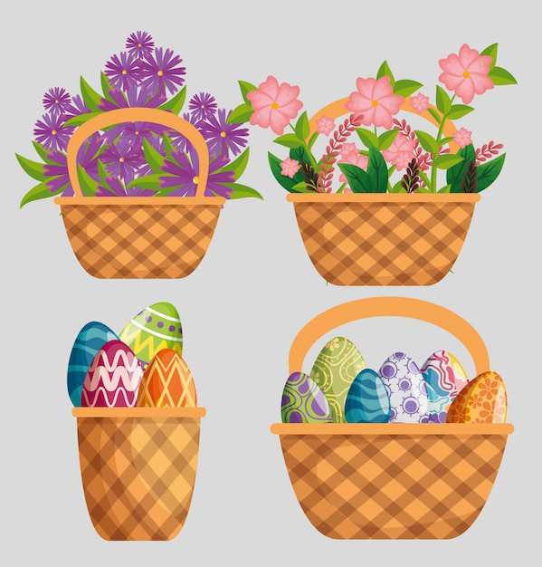Set flowers plants with leaves and eggs decoration inside basket Free Vector