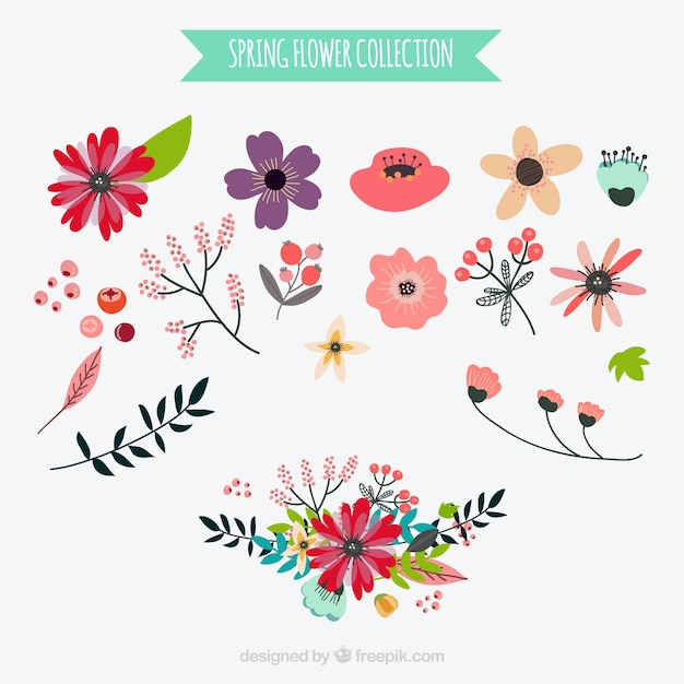 Set Of Flowers In Vintage Style Vector Free Download