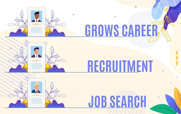 Set flyer grows career recruitment job search. Premium Vector