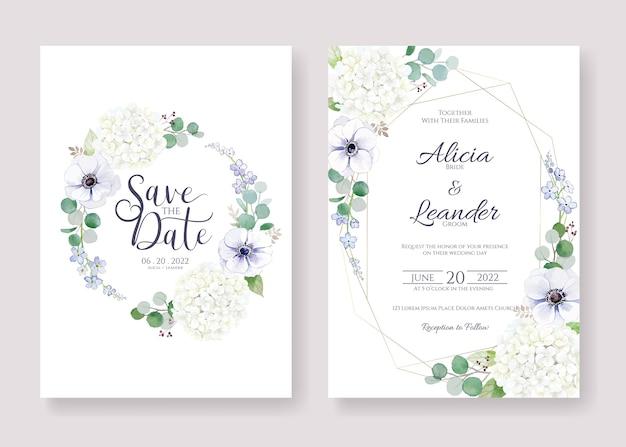 Установите для приглашения на свадьбу, сохраните шаблон даты карты. Premium векторы