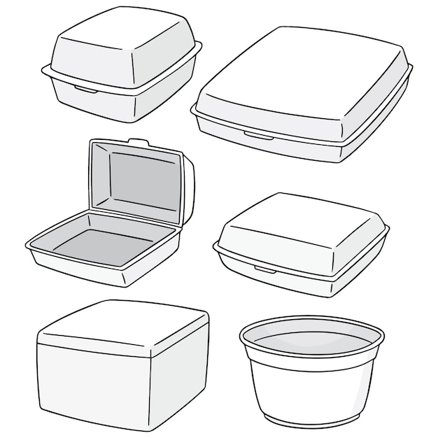Set of foam container Premium Vector