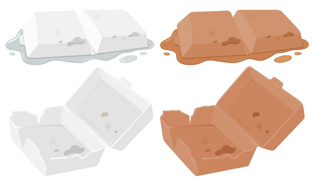Set of foam food container Free Vector