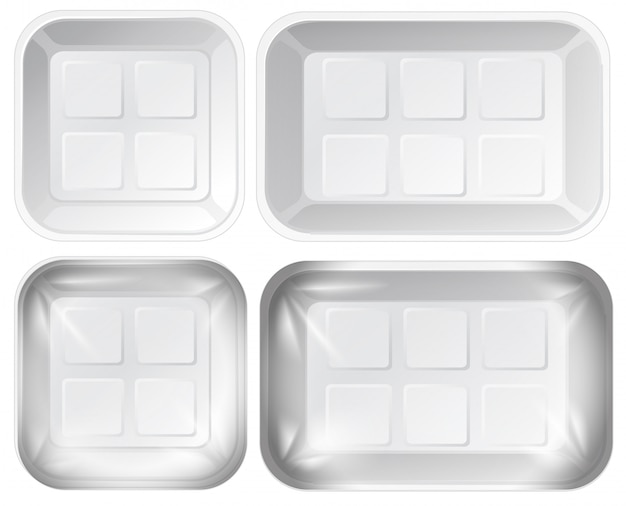 Set of foam tray package Free Vector