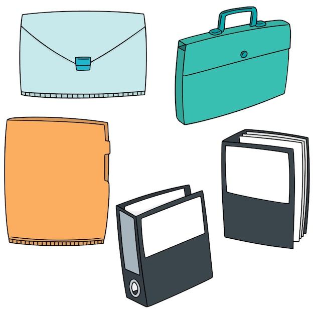 Set of folder Premium Vector
