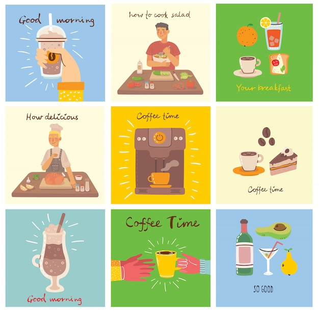 Set of food and drink cards with hand written text, simple flat colorful illustration in the flat design Premium Vector