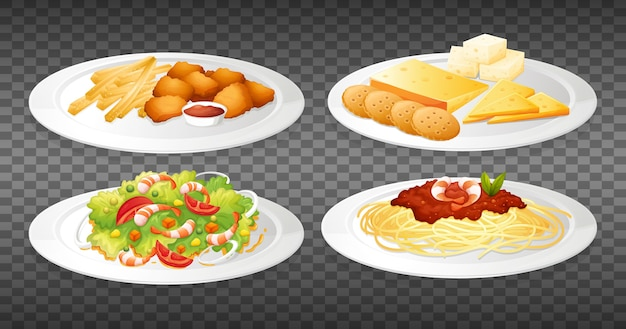 Set of food on transparent Free Vector