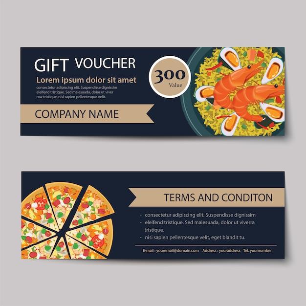 Set of food voucher discount template design. Premium Vector
