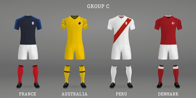 set of football kit shirt template for soccer jersey