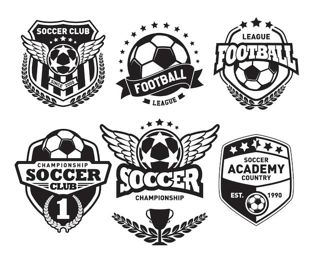 Set of football logo design templates Premium Vector