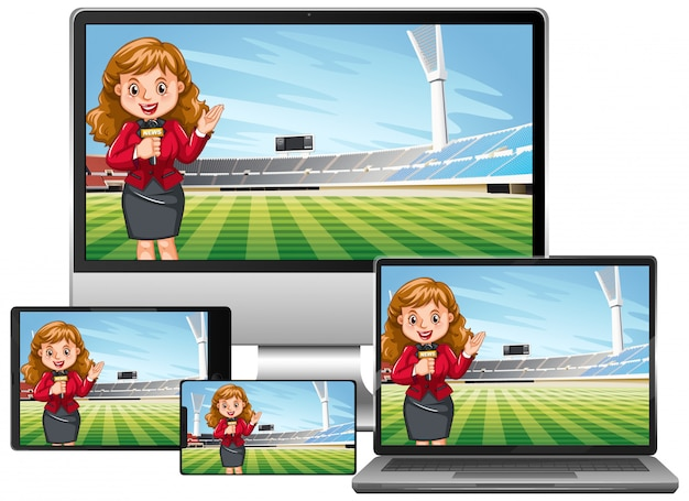 Set of football match news on different electronic gadget  screen isolated Free Vector