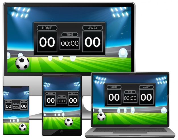 Set of football match score news on different electronic gadget screens Free Vector