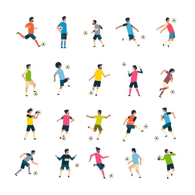 Набор футболисты удар мяч разнообразие позы изолированные спорт чемпионат плоский полная длина характер Premium векторы
