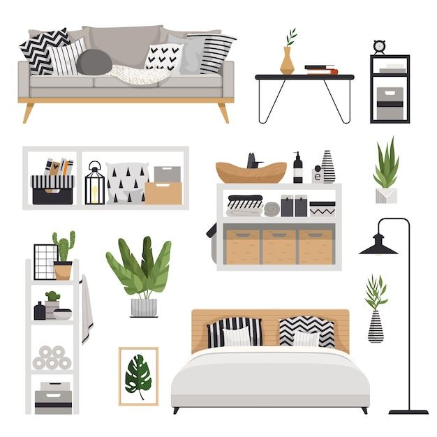 スカンジナビアスタイルのスタイリッシュでモダンな家具をお届けします。引き出し、ベッド、棚、ランプ、植物、ソファ、テーブルを備えたミニマルで居心地の良いインテリア。 Premiumベクター