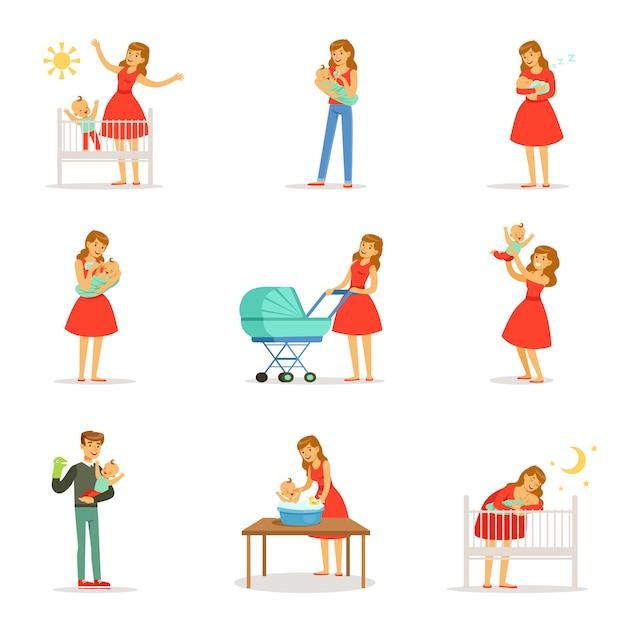 Установить для . красочный мультфильм подробные иллюстрации на белом фоне Premium векторы