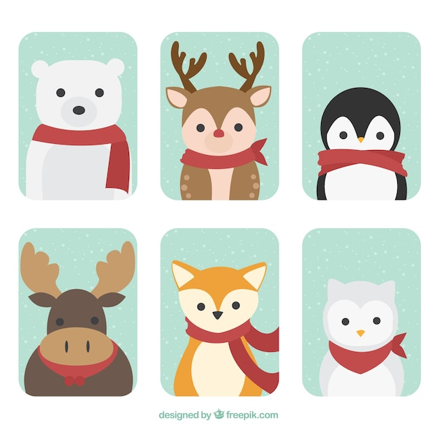 Set of forest animals with red scarf Free Vector
