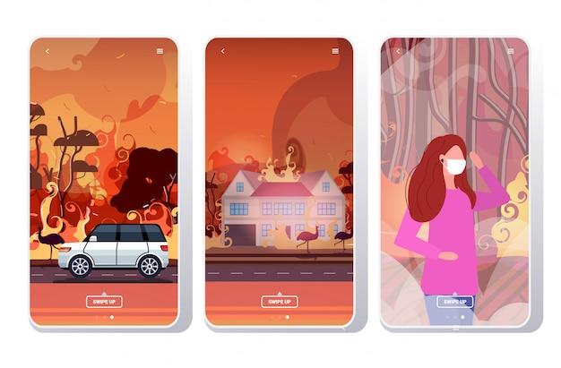 Лесные пожары в австралии лесной пожар лесной пожар горящие деревья концепция эвакуации стихийных бедствий интенсивное оранжевое пламя коллекция экранов телефонов мобильное приложение Premium векторы