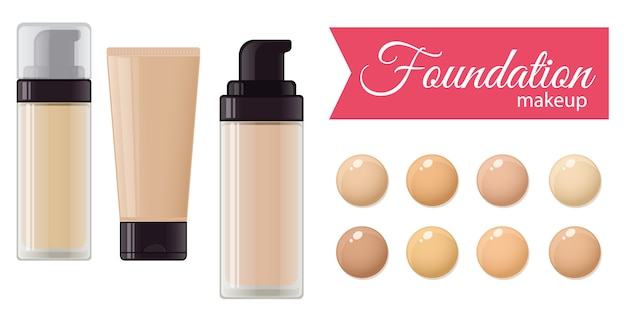 Set of foundation cream for mackeup and color palette Premium Vector
